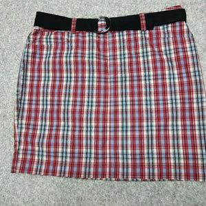 CHAPS, 14, plaid, crisp cotton belted skirt